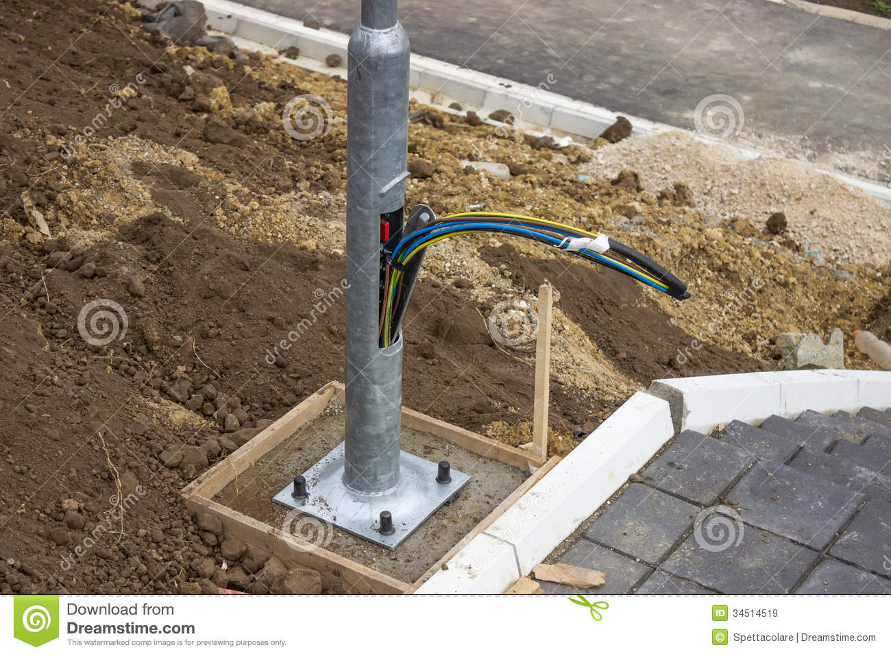Royalty Free Stock Images Wiring L  Post Worker Shovel Looking Lost Manhole Working Excavator Building Area Image34514519