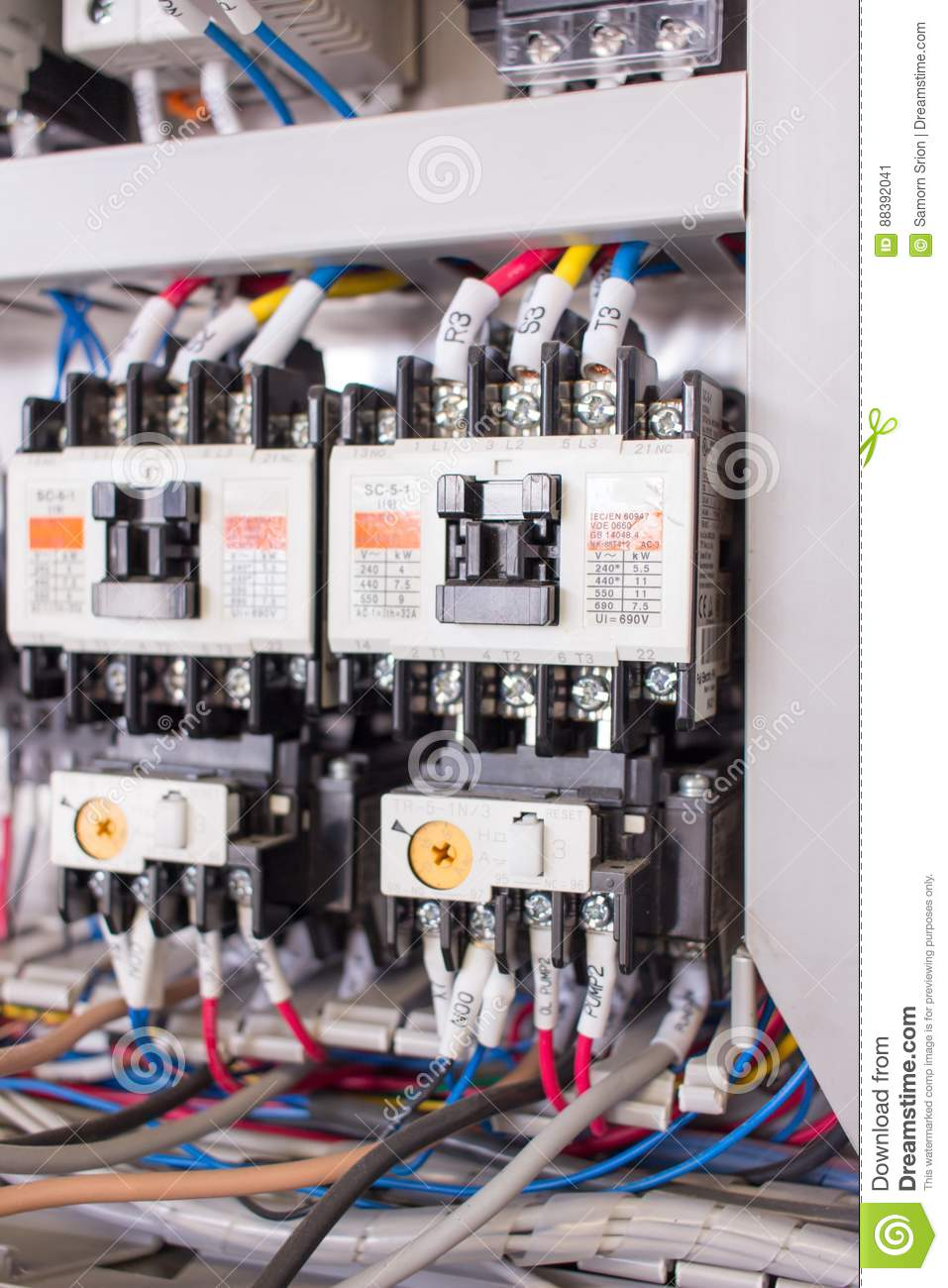 Wiring Management In Control Panel Stock Image Image Of Activities Electrical 88392041