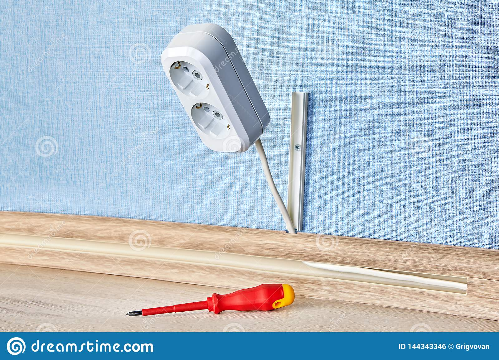 Wiring Up Of Electrical Plug Outlet Stock Photo Image Of People Euro 144343346