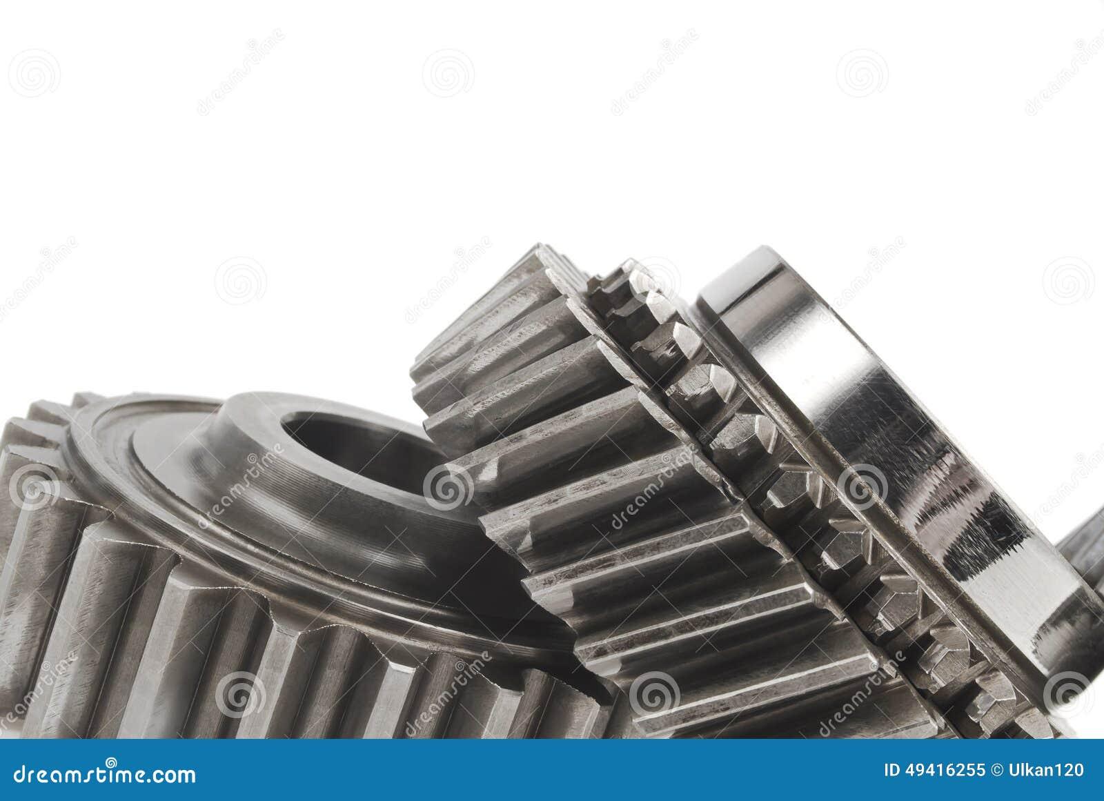 Download Wirkliche Edelstahlgänge über Weißem Hintergrund Stockbild - Bild von ingenieur, motor: 49416255