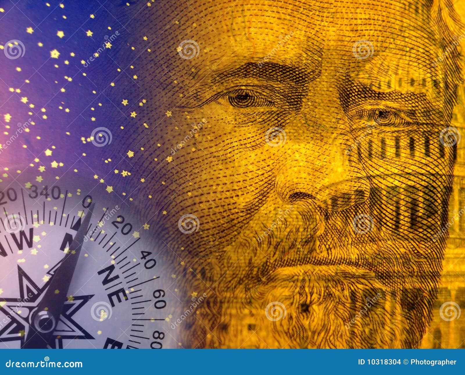 Wirtschaftlichkeitauszug mit US-Kapitol und altem Präsident