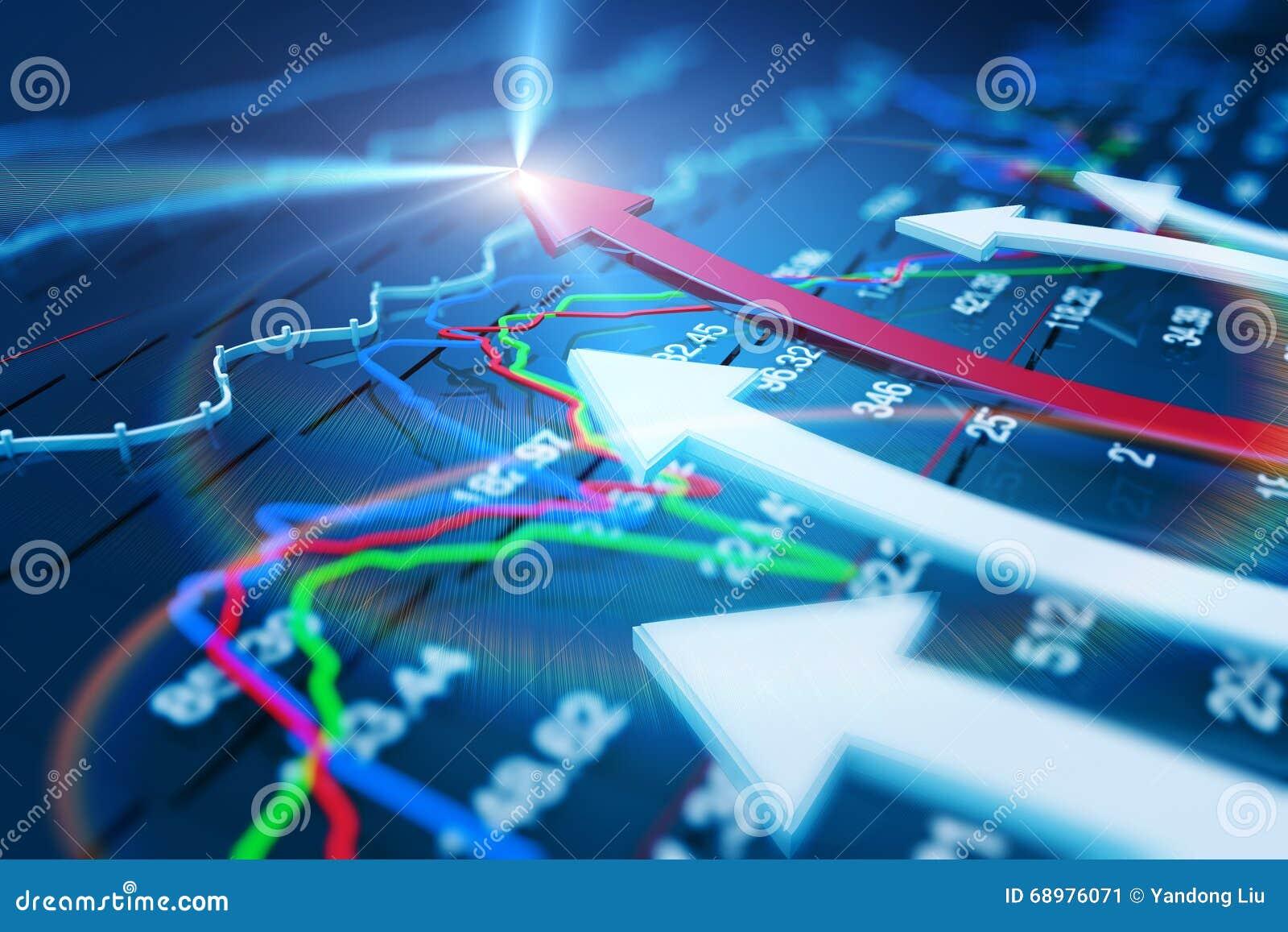 Wirtschaftsindikatoren und bewegen sich vorwärts mit dem Pfeil