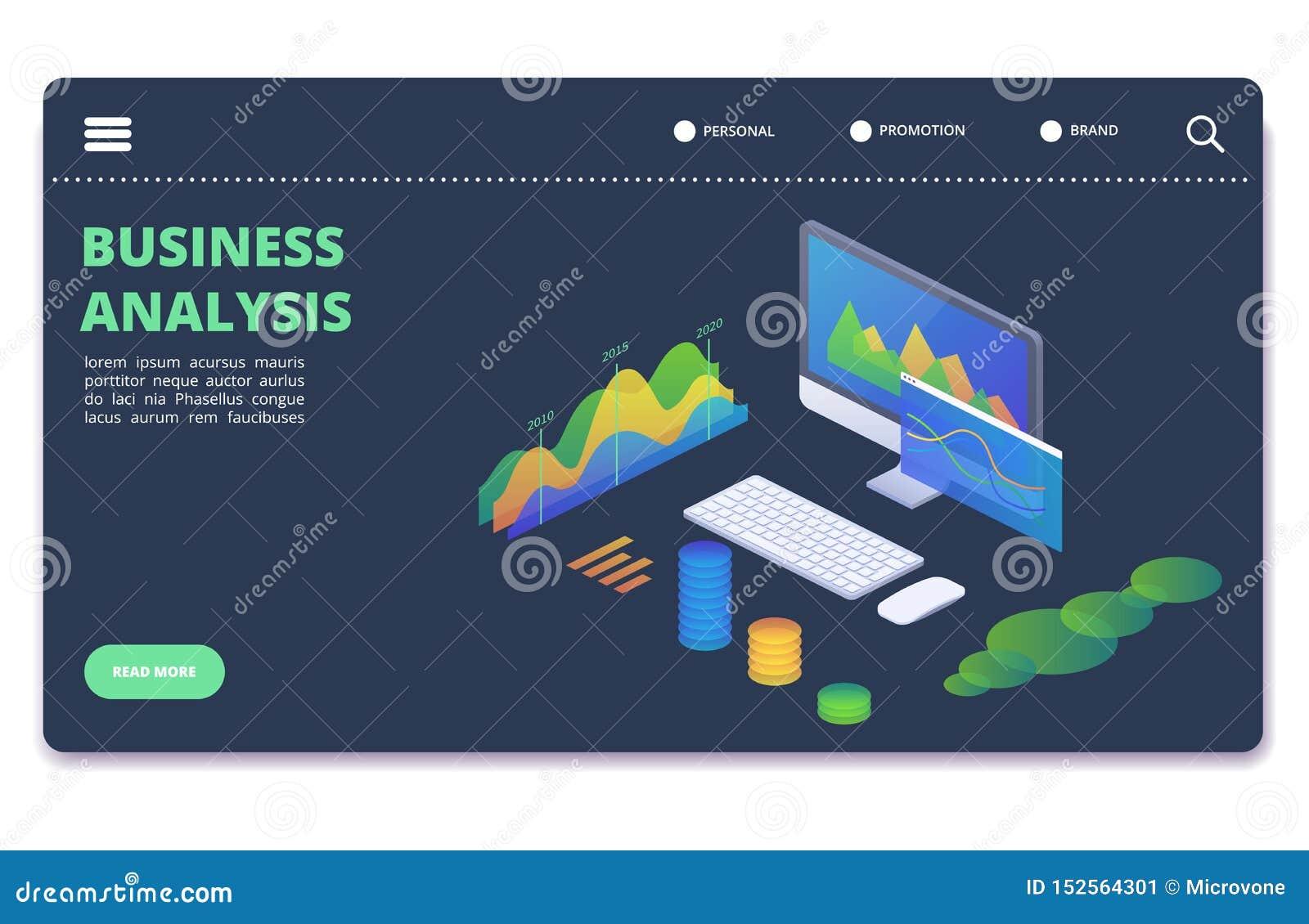 Wirtschaftsstatistikdiagramme, stellt Vektorkonzept grafisch dar Finanzanalyticsfahnenschablone