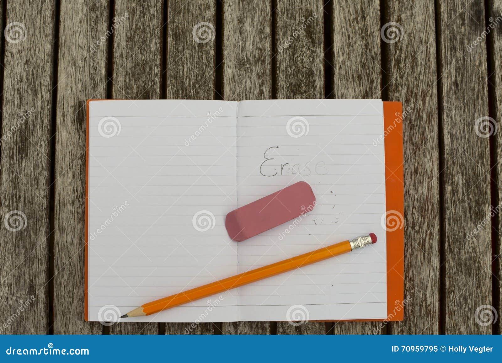 Wis in notitieboekje