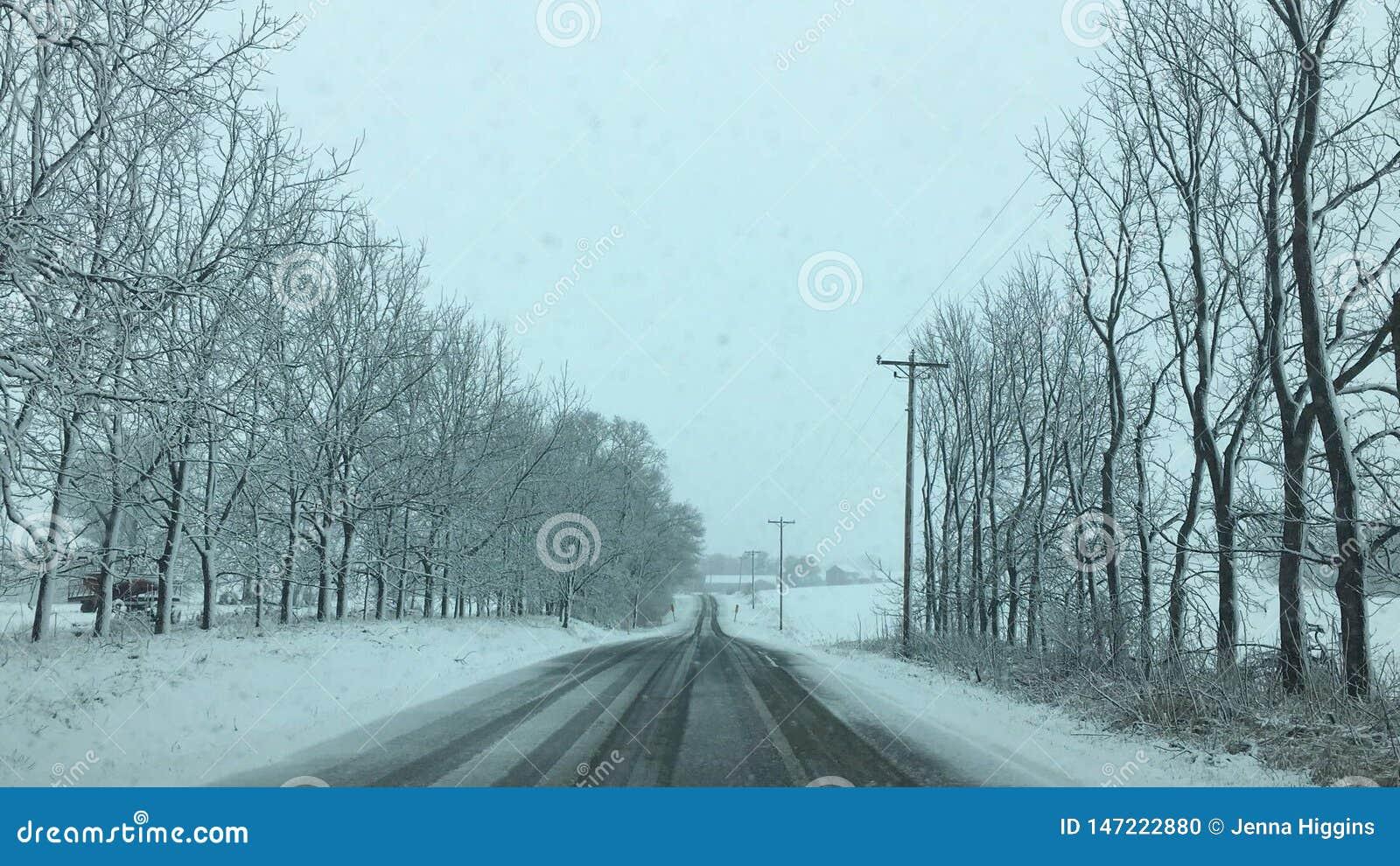 Wisconsin śnieg zakrywająca droga