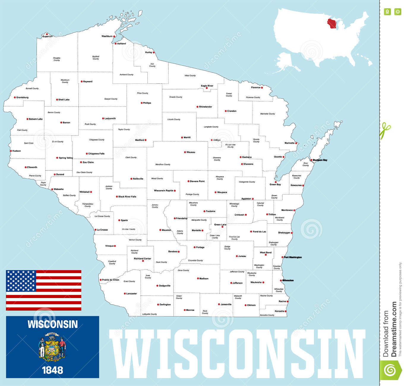 Wisconsin county map stock vector. Illustration of green - 78880356