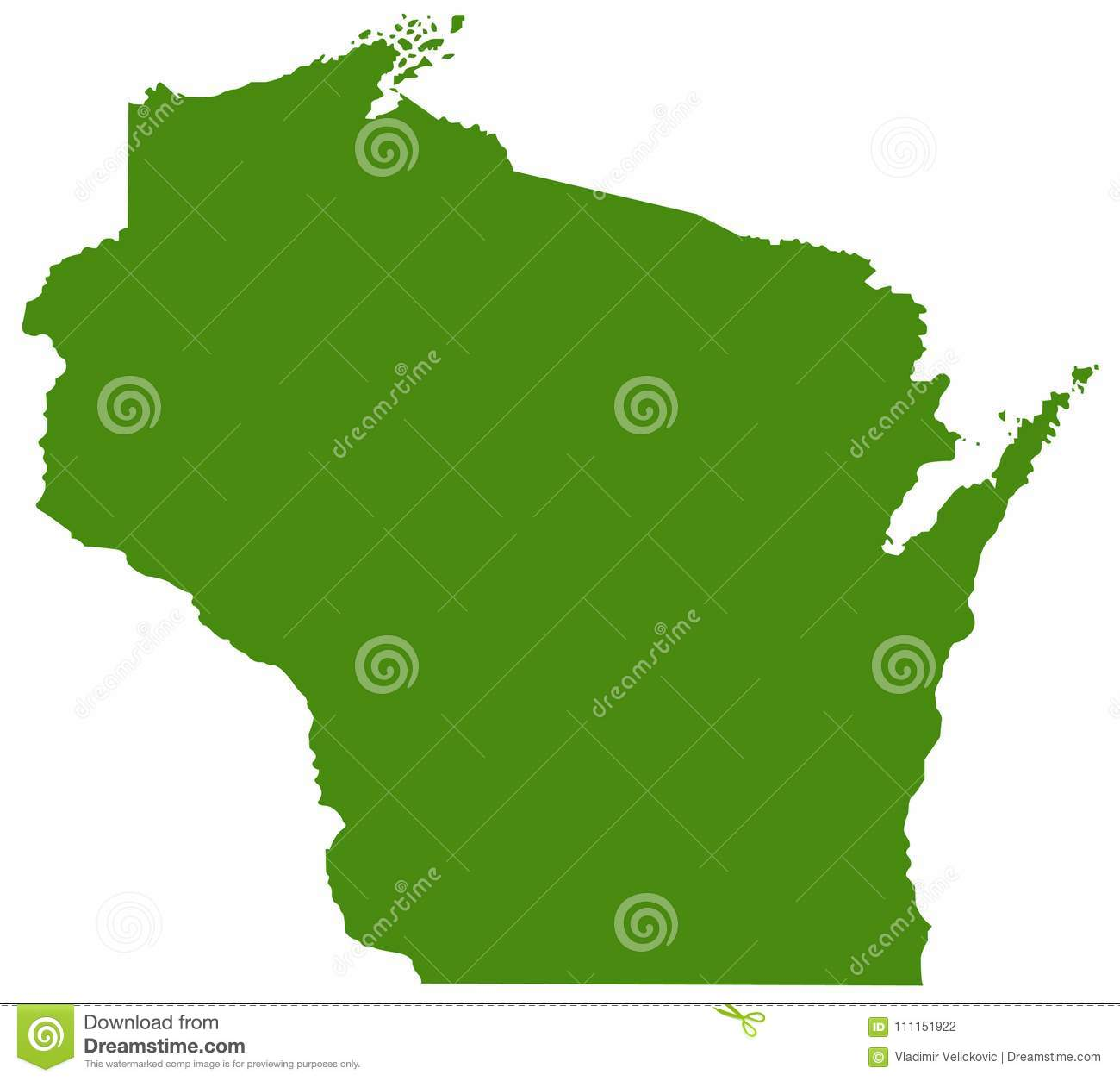 Wisconsin Map State In The North Central United States Stock