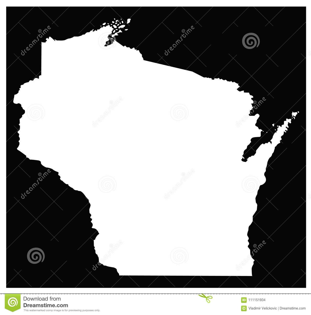 Milwaukee State Map.Wisconsin Map State In The North Central United States Stock