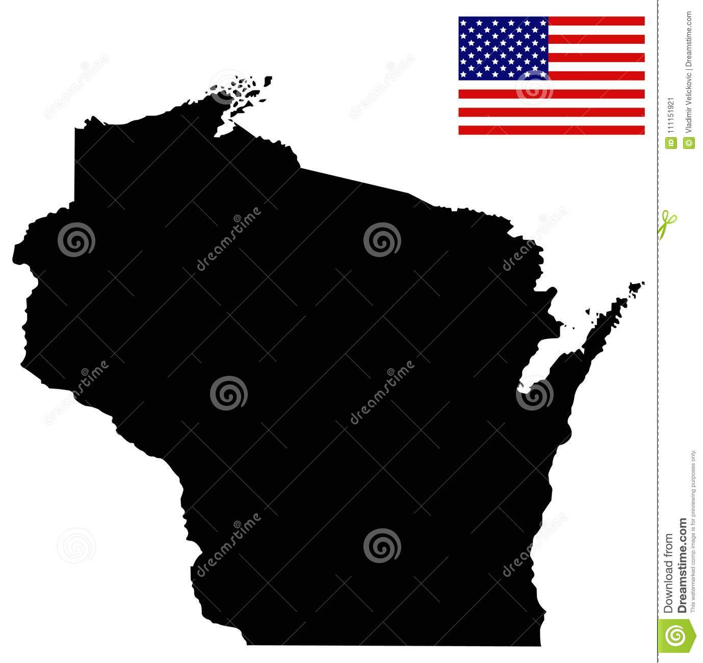 Wisconsin Map With USA Flag - State In The North-central United ...