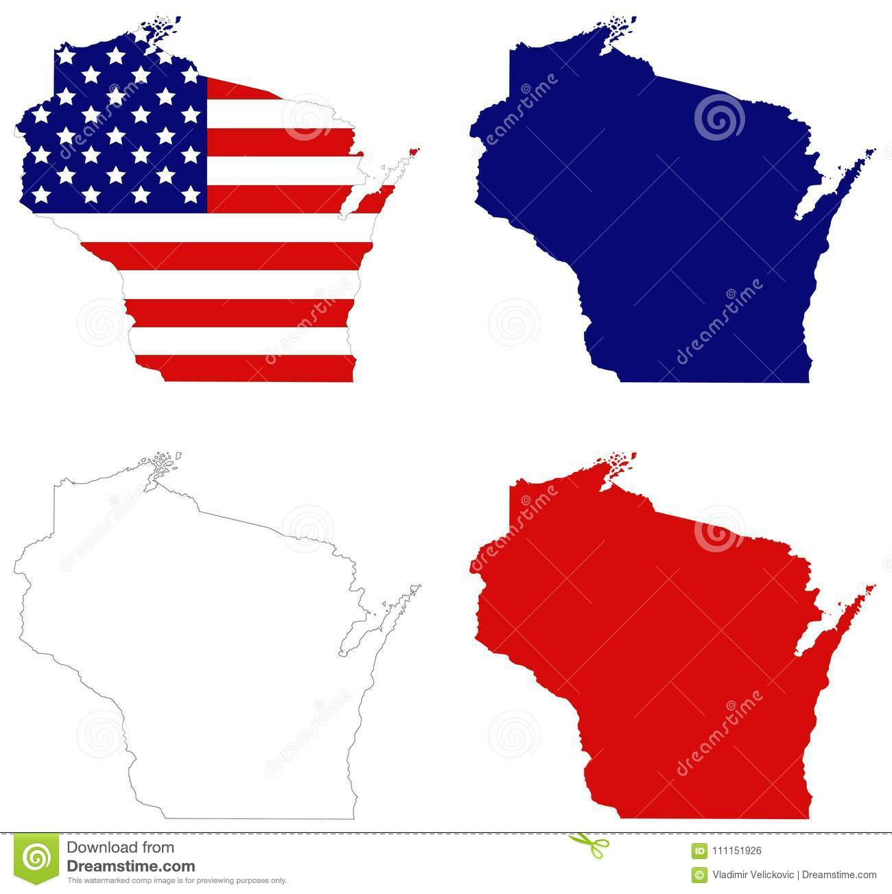 North Central Us Map.Wisconsin Map With Usa Flag State In The North Central United