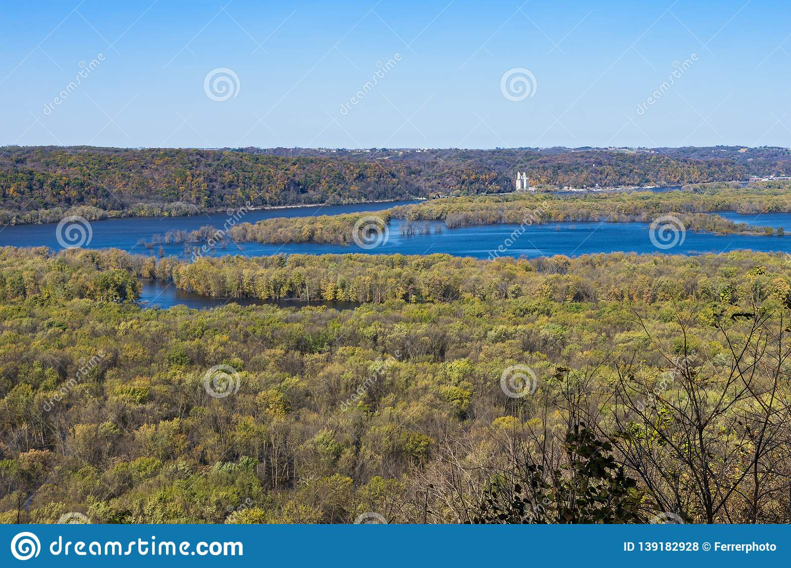 Wisconsin and Mississippi Rivers Confluence at Wyalusing