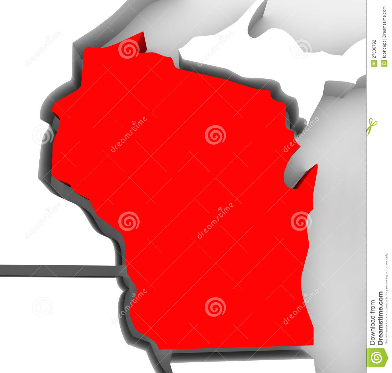 Wisconsin Red Abstract D State Map United States America Stock - Map of america wisconsin