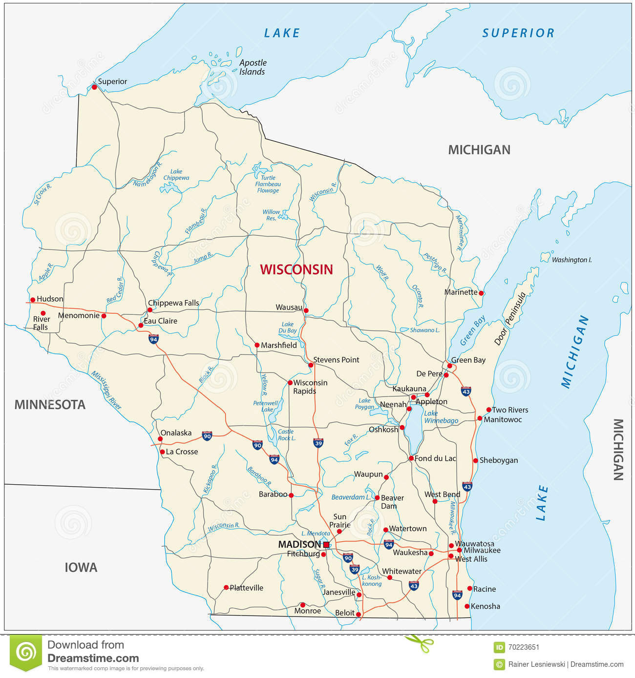 Wisconsin Road Map Stock Illustration Image - Wisconsin on the us map