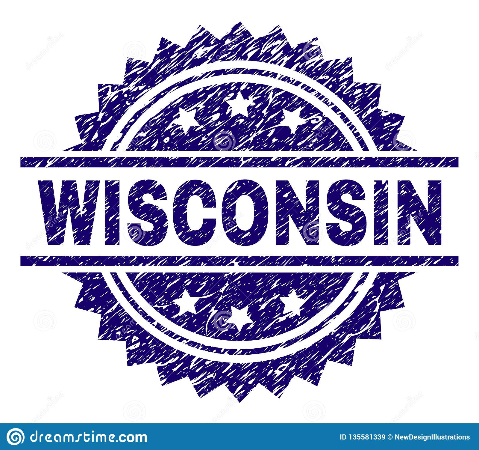 Scratched Textured WISCONSIN Stamp Seal
