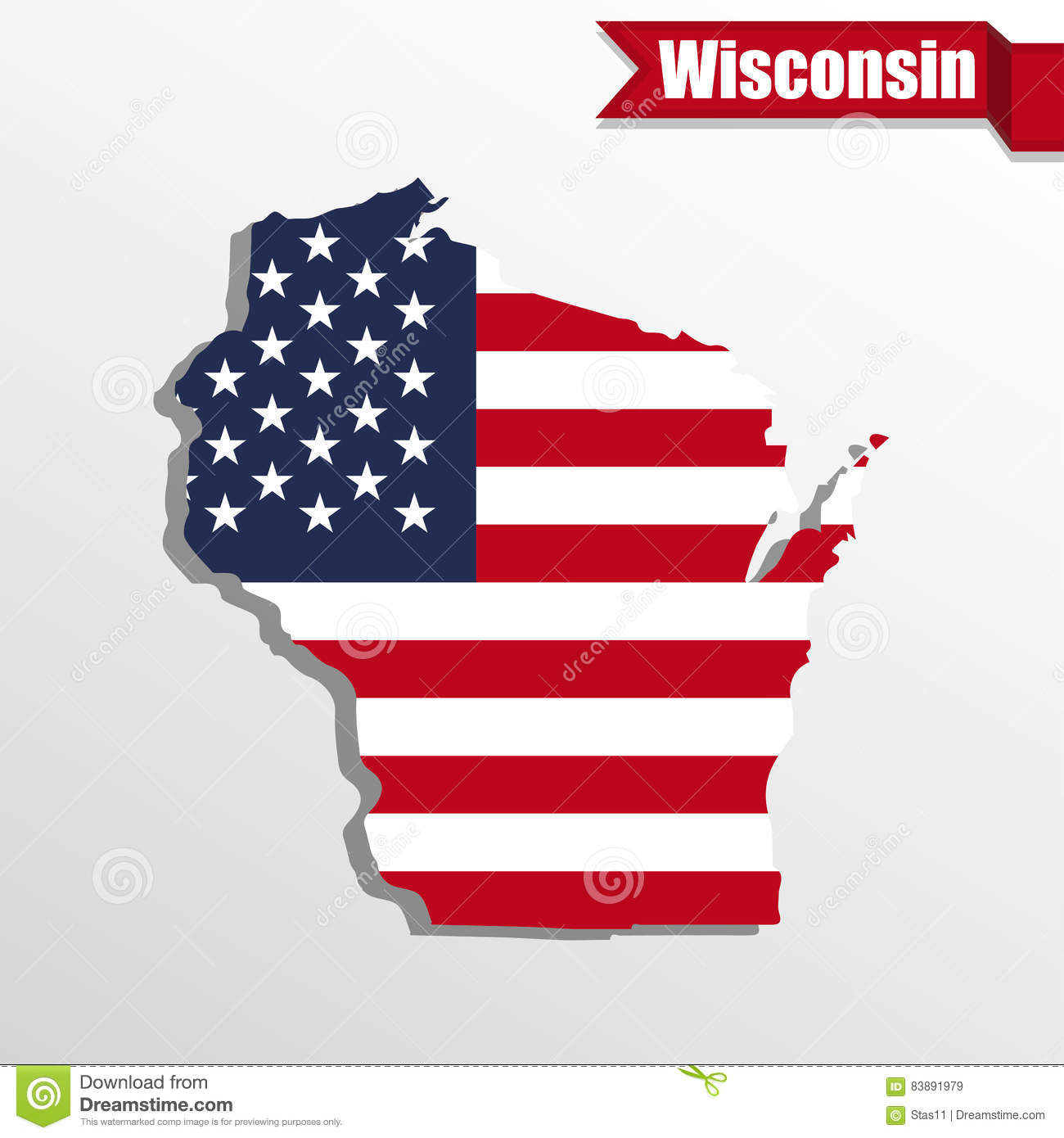 Wisconsin State Map With US Flag Inside And Ribbon Stock - Wisconsin state map of us