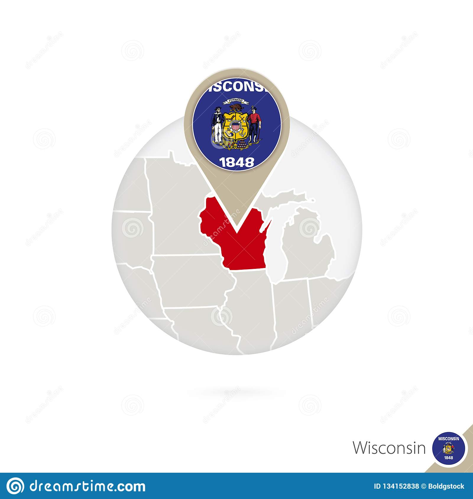 Wisconsin US State Map And Flag In Circle Stock Vector ...