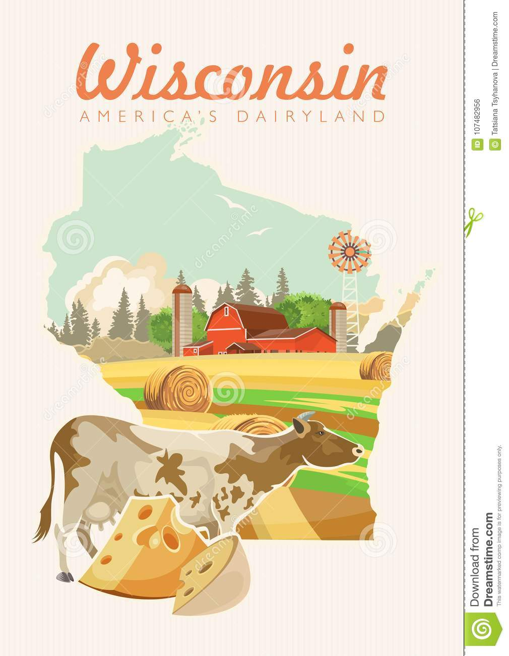 Milwaukee State Map.Wisconsin Vector Illustration With Map Americas Dairy Country