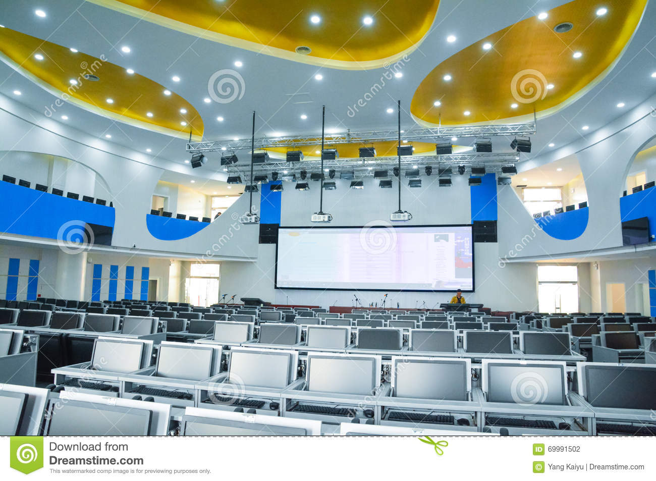Multimedia Classroom Design ~ Wisdom digital future training room editorial photography