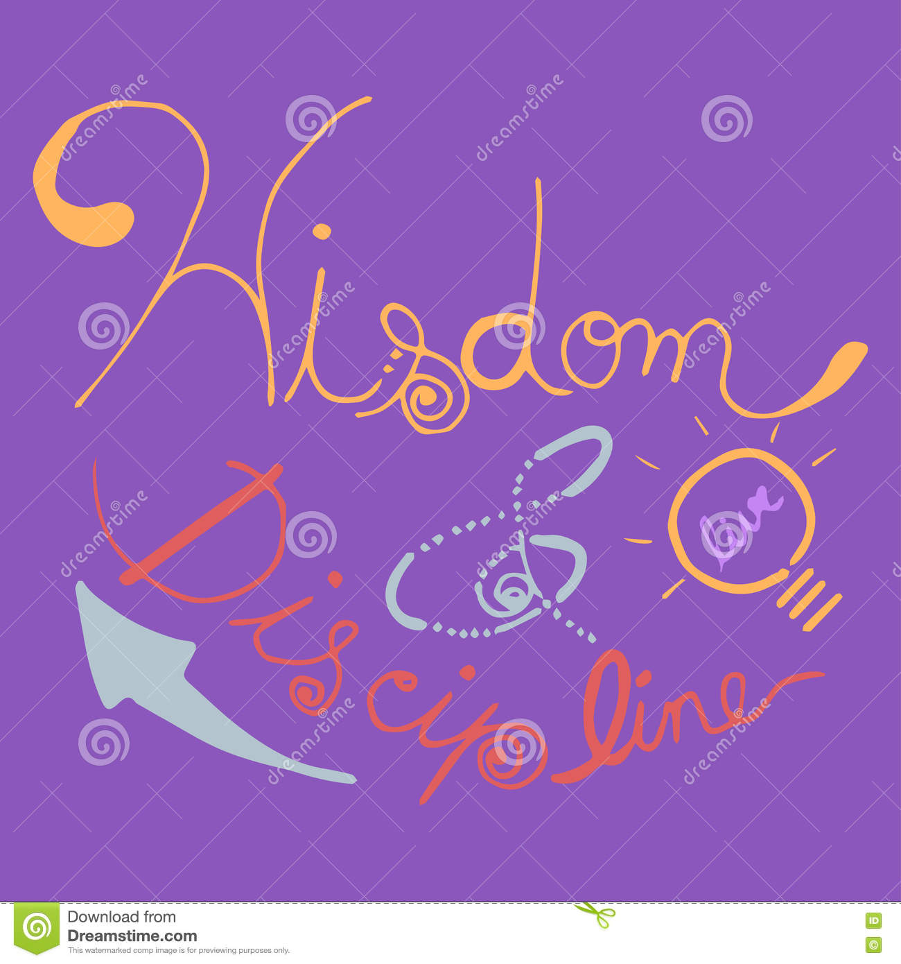 Purple Quotes Wisdom & Discipline Hand Written Inspirational Quotes  Colorful