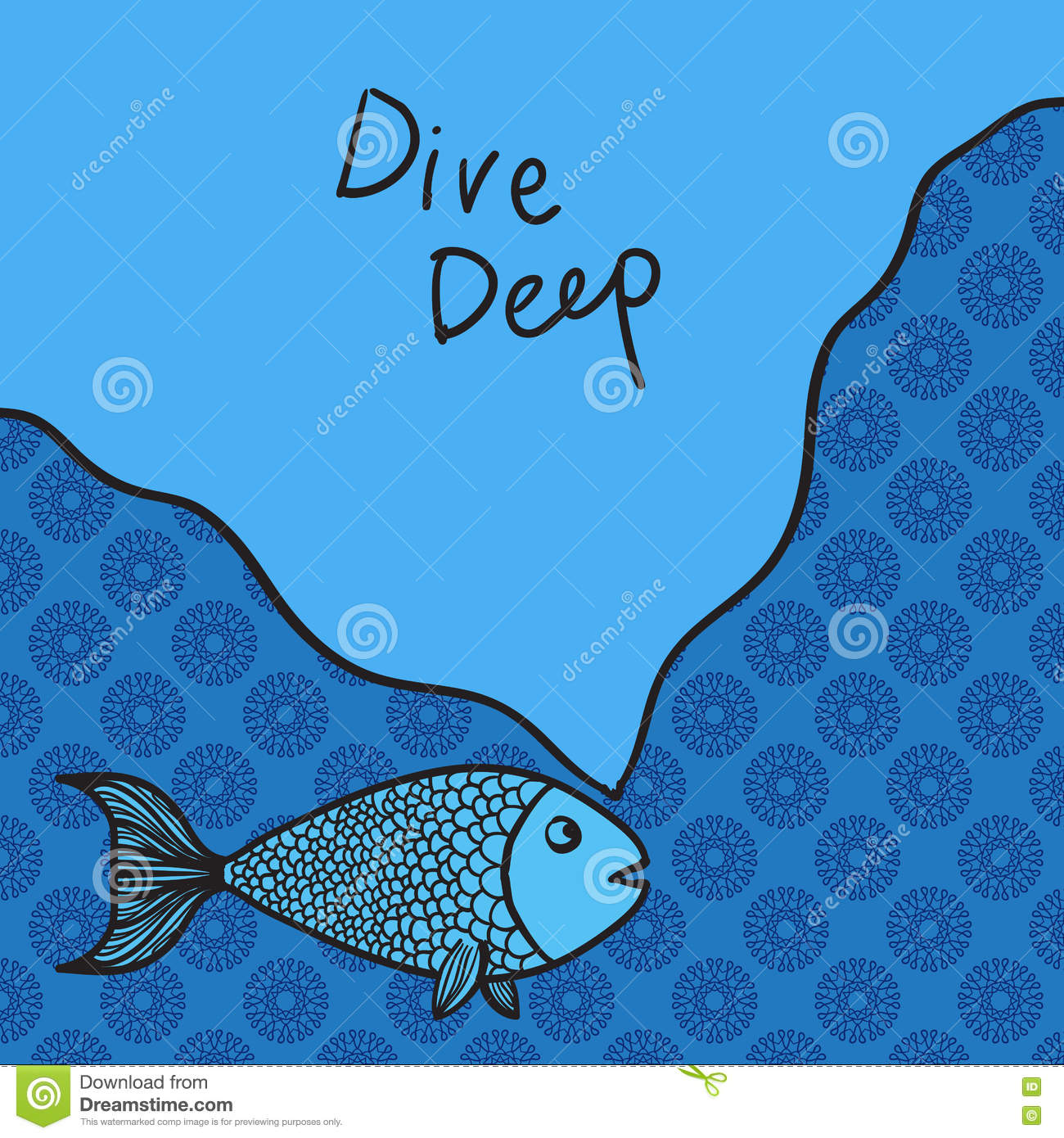 Wise cartoon fish with motto vector illustrationa lot of for Lot of fish