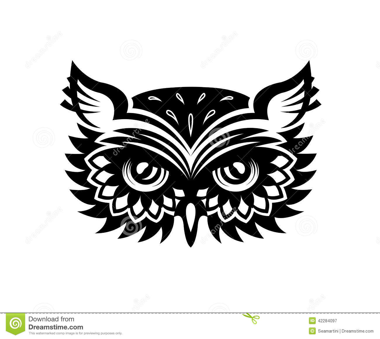Owl Head Silhouette Vector Wise Old Horned Owl He...