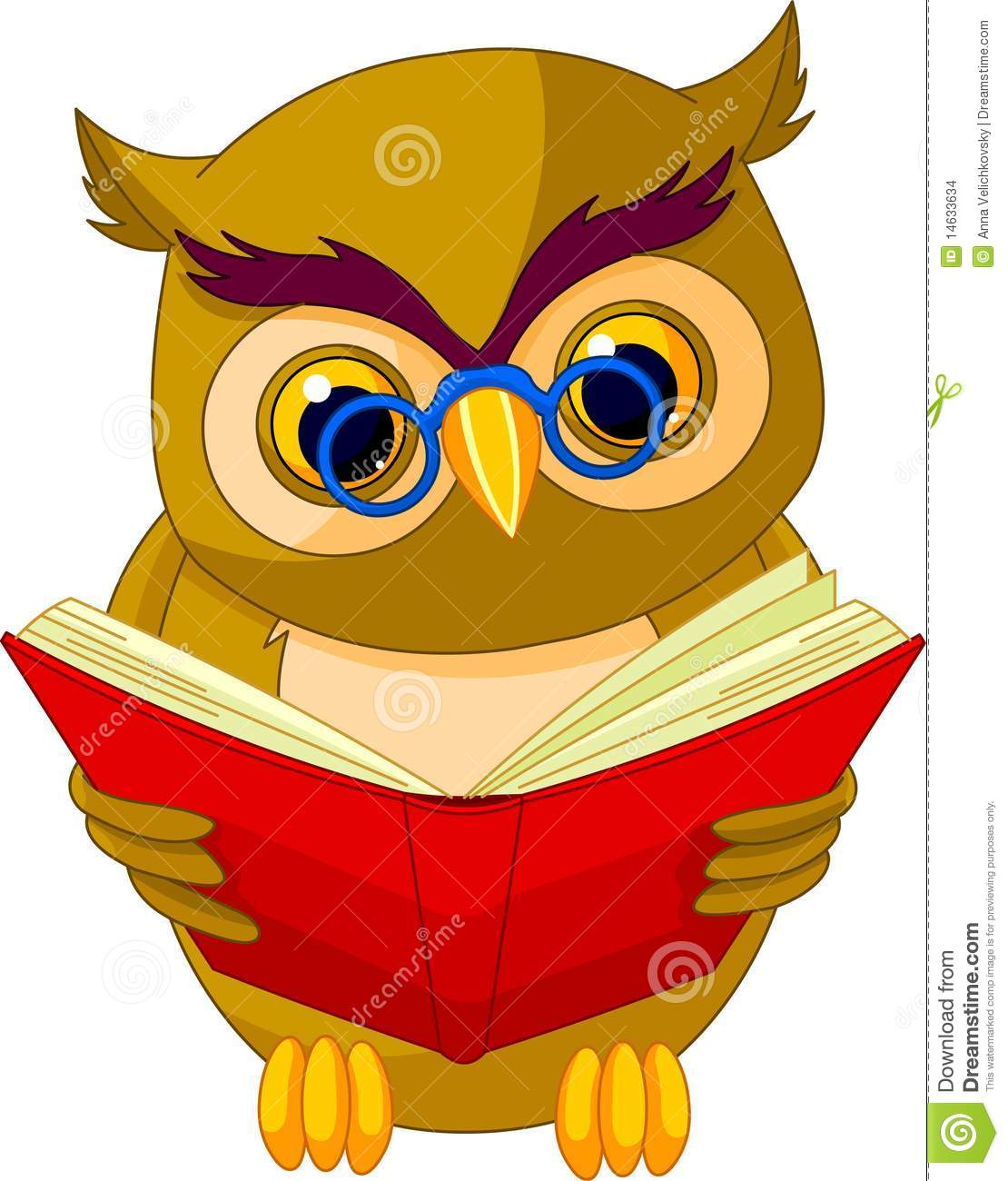 Fully editable illustration of a cartoon wise owl.