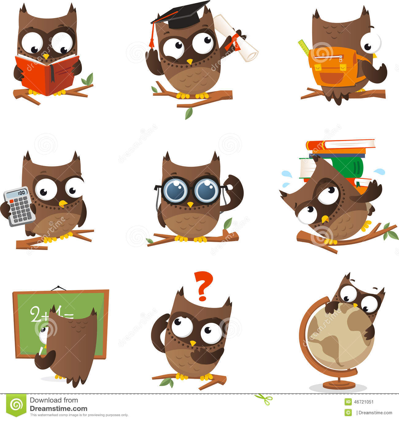 Wise Owl Cartoon Set Studying Collection With Nine Owls In Different Situations