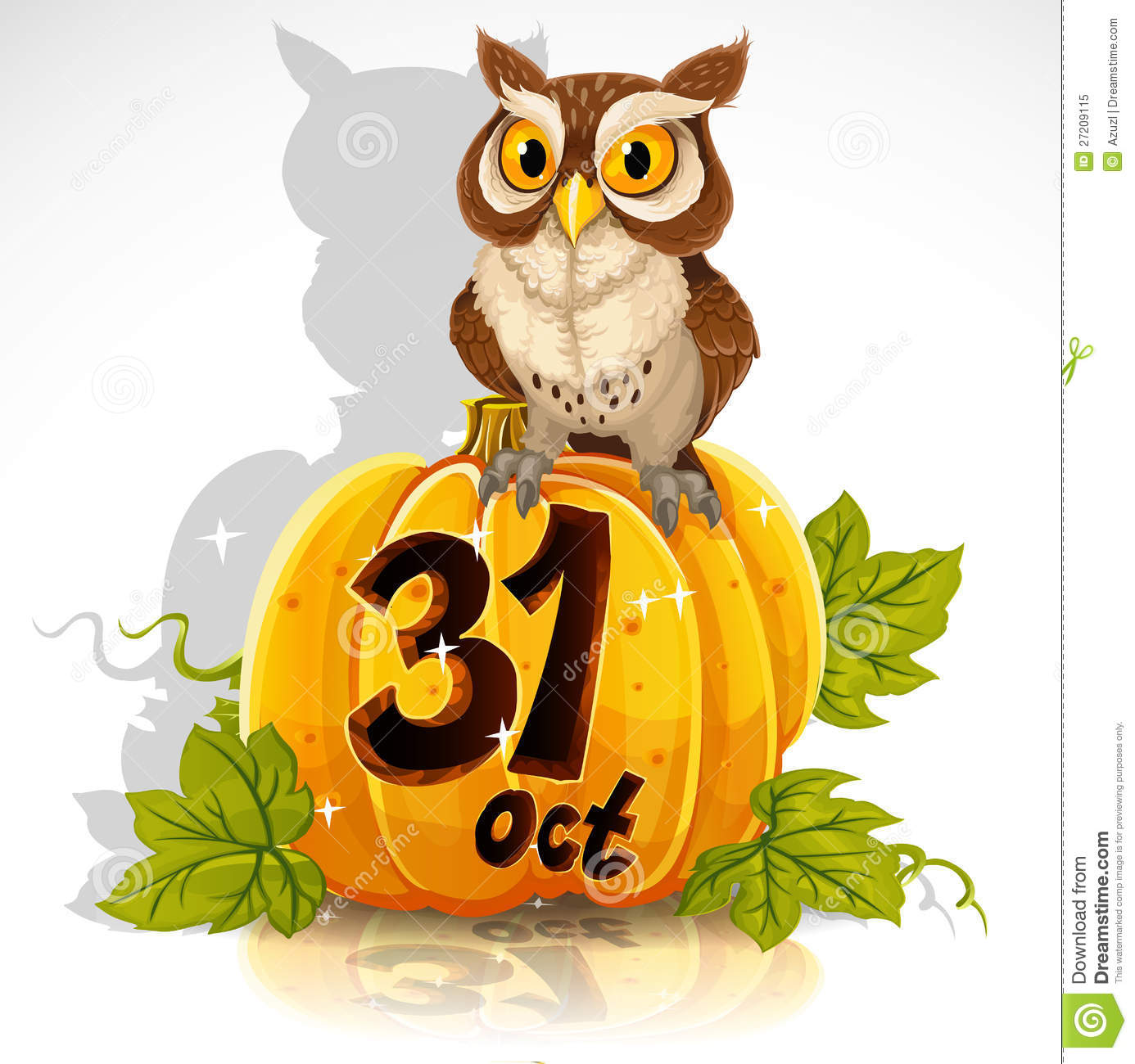 Wise Owl Sit On A Pumpkin  Halloween Party Royalty Free - October 31 Halloween