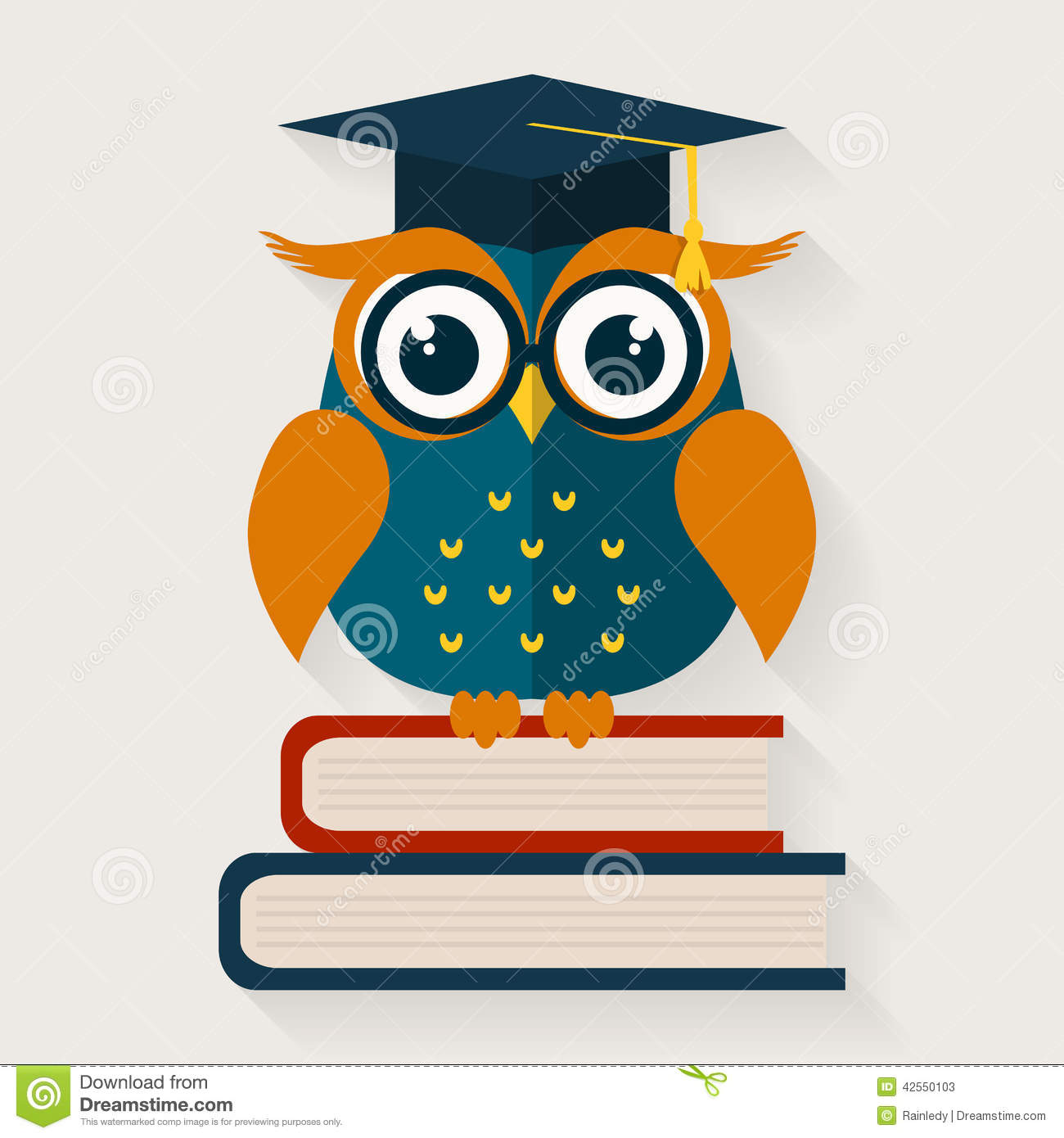Wise Owl Sitting On The Books Vector Illustration Stock