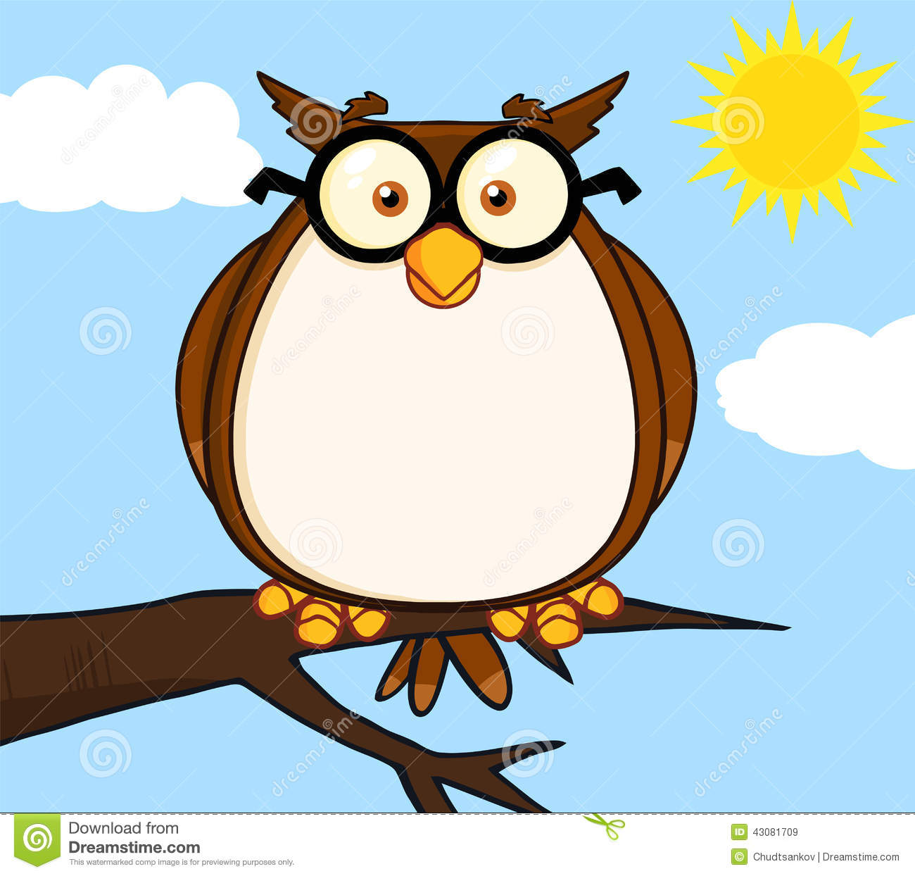 wise owl on tree cartoon character stock illustration image
