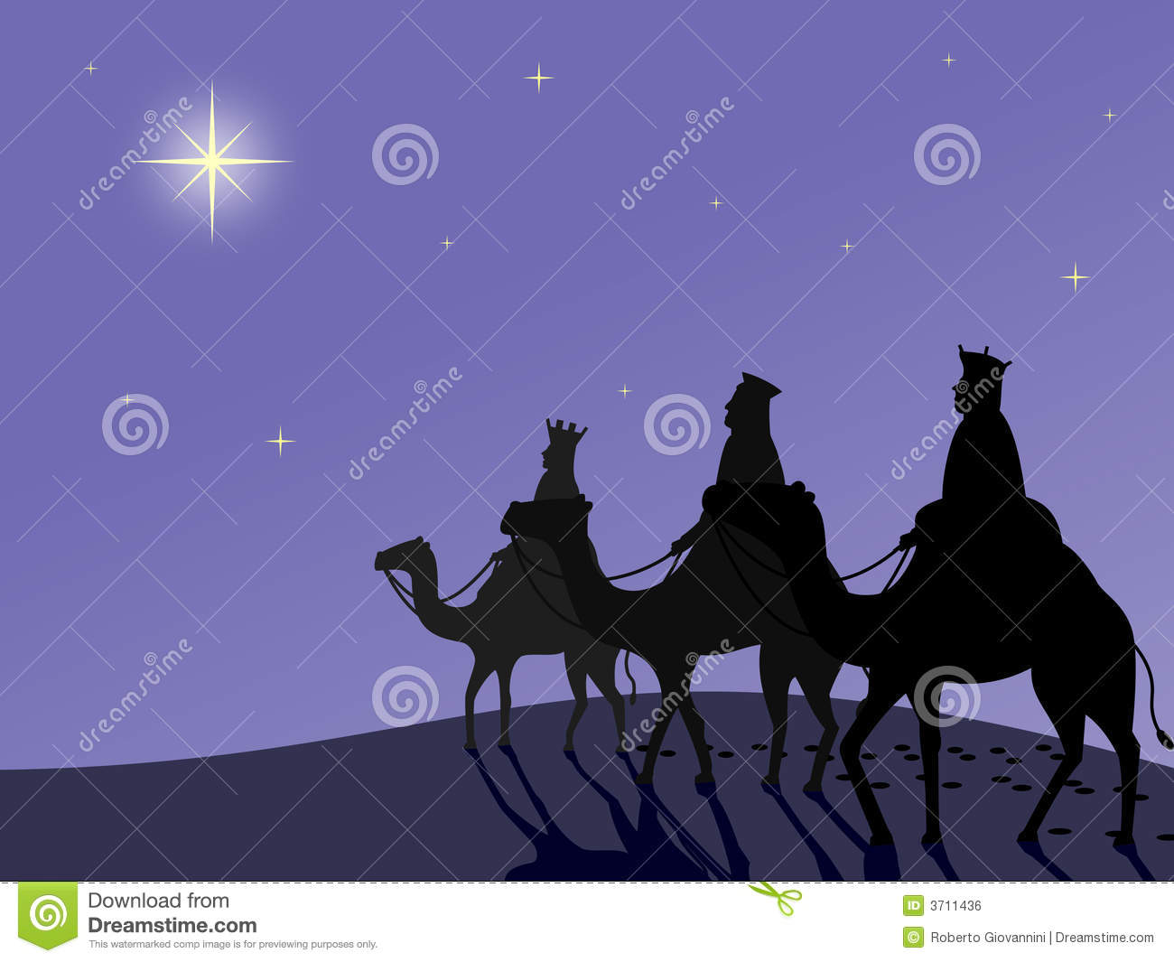 Three Wise Men Silhouette Wisemen in the desert