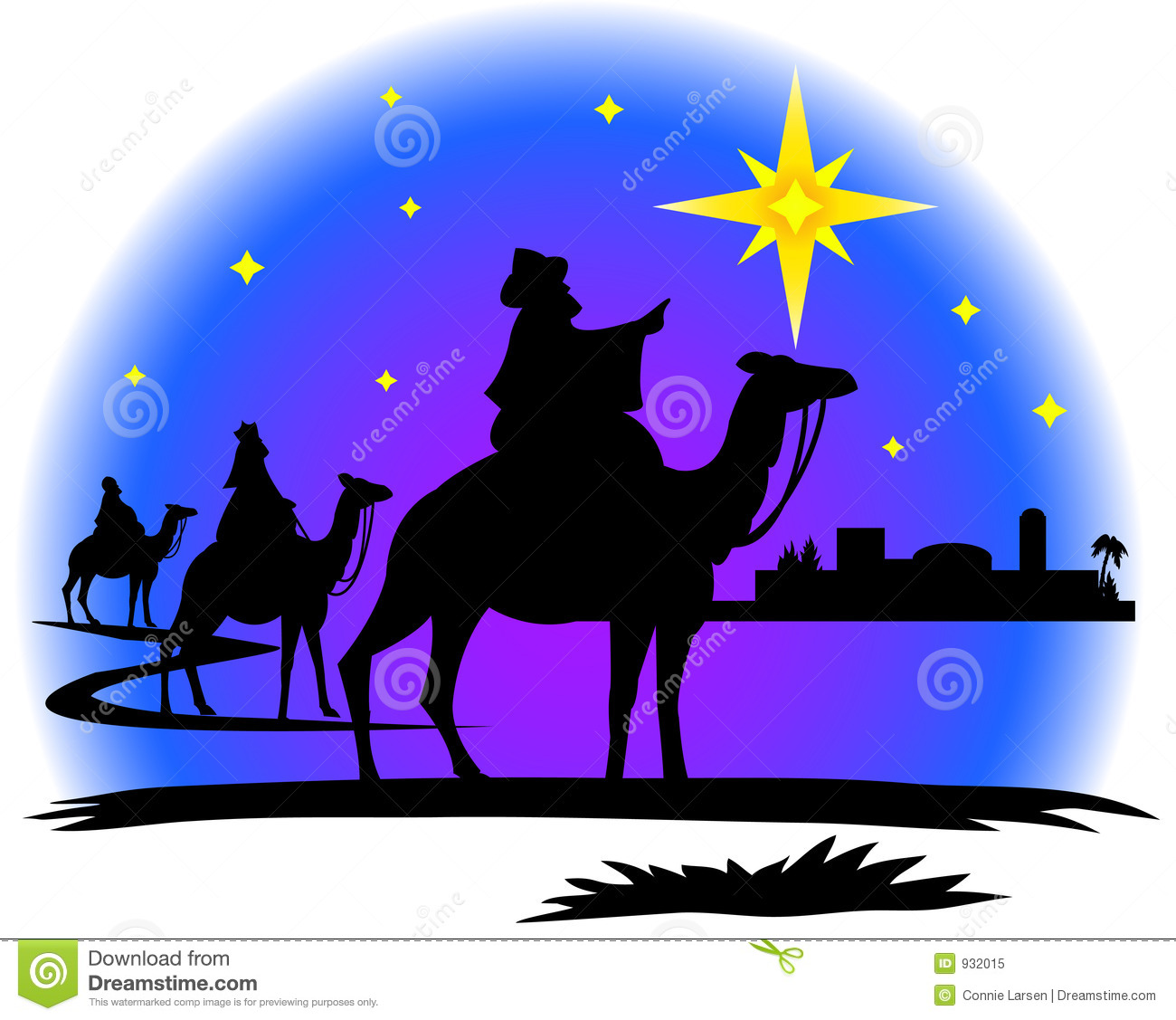 Illustration of three wisemen following the star of Bethlehem ...