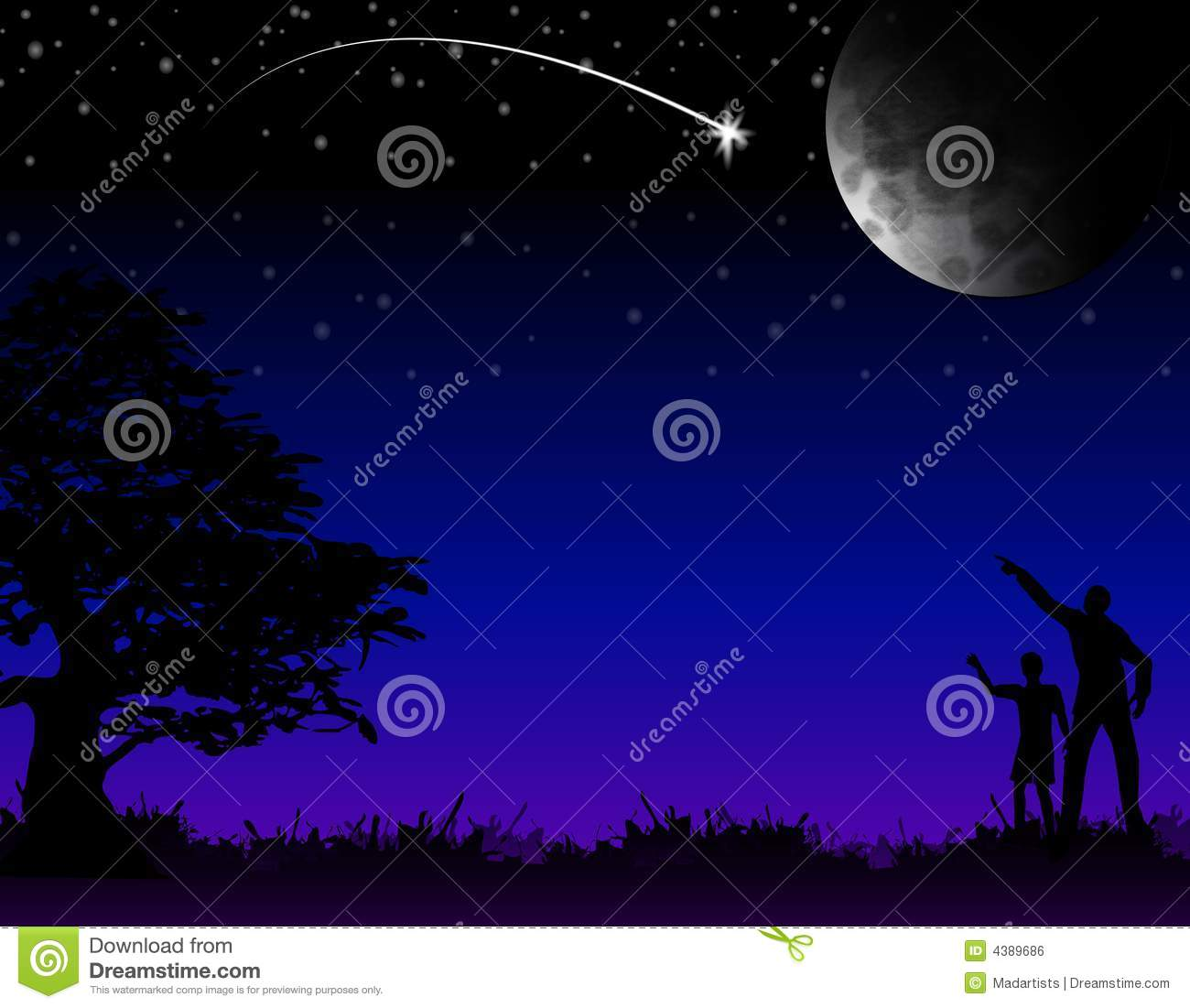 An illustratin featuring a bright shooting star, crescent moon and sky ...