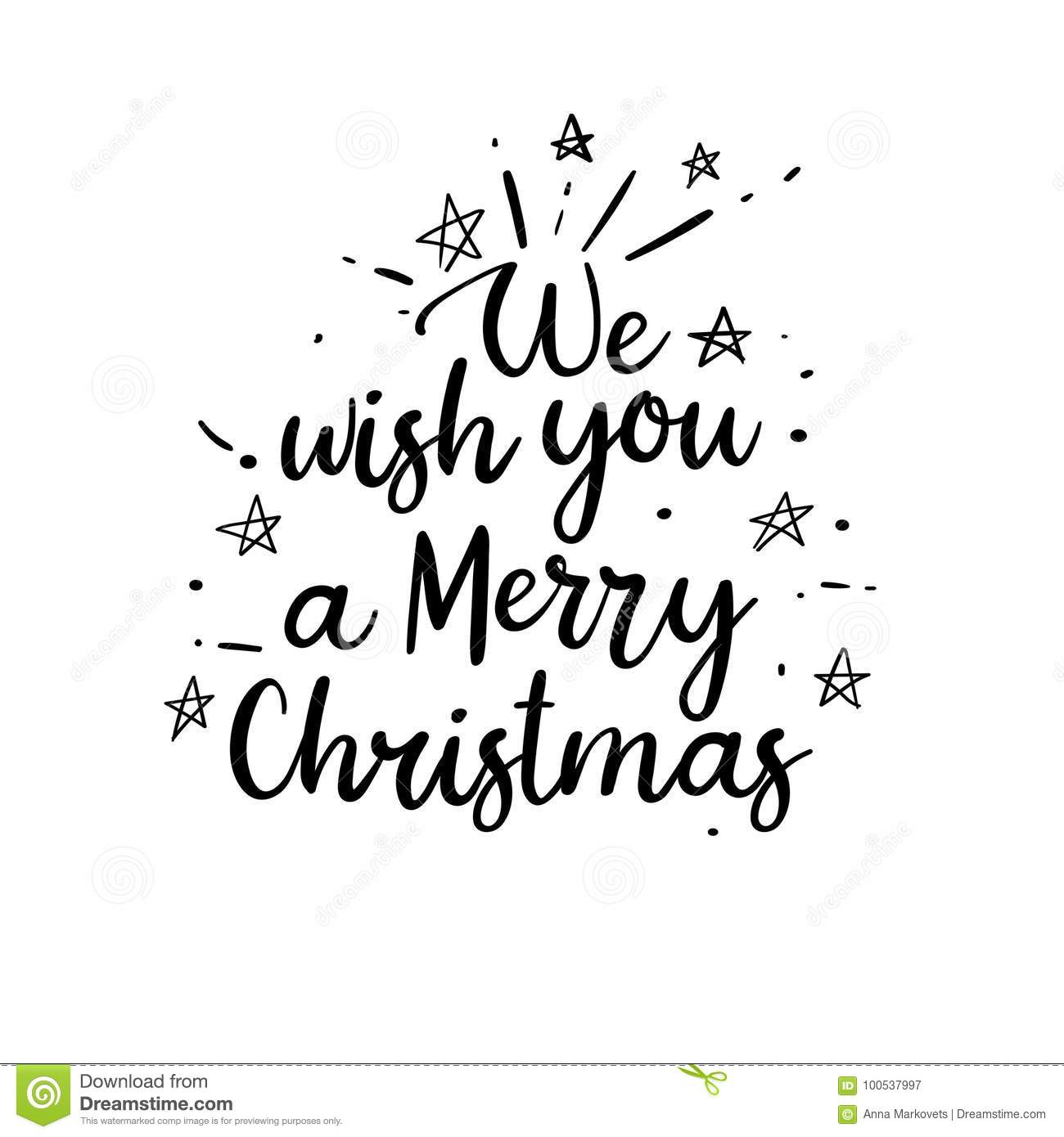 We Wish You A Merry Christmas Handwritten Inscription. Hand ...