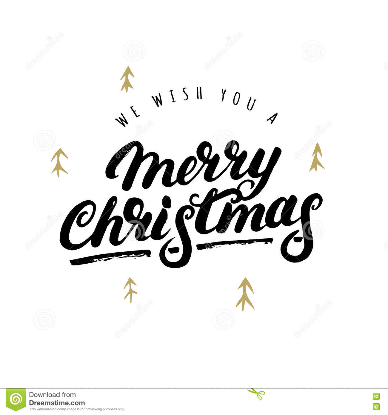 We Wish You A Merry Christmas Hand Written Lettering. Stock Vector ...
