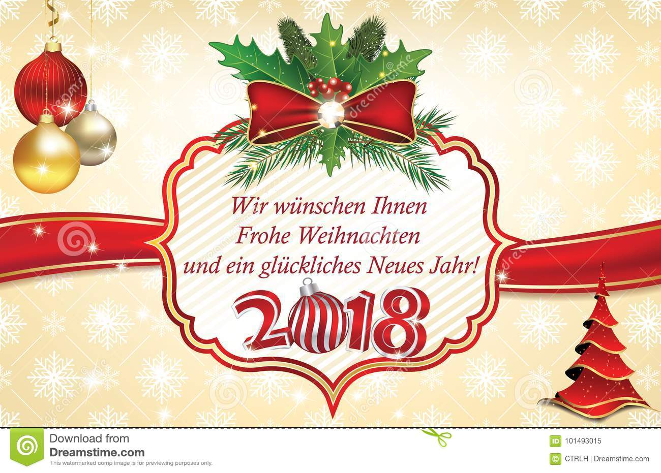 happy new year 2018 greeting card in german language