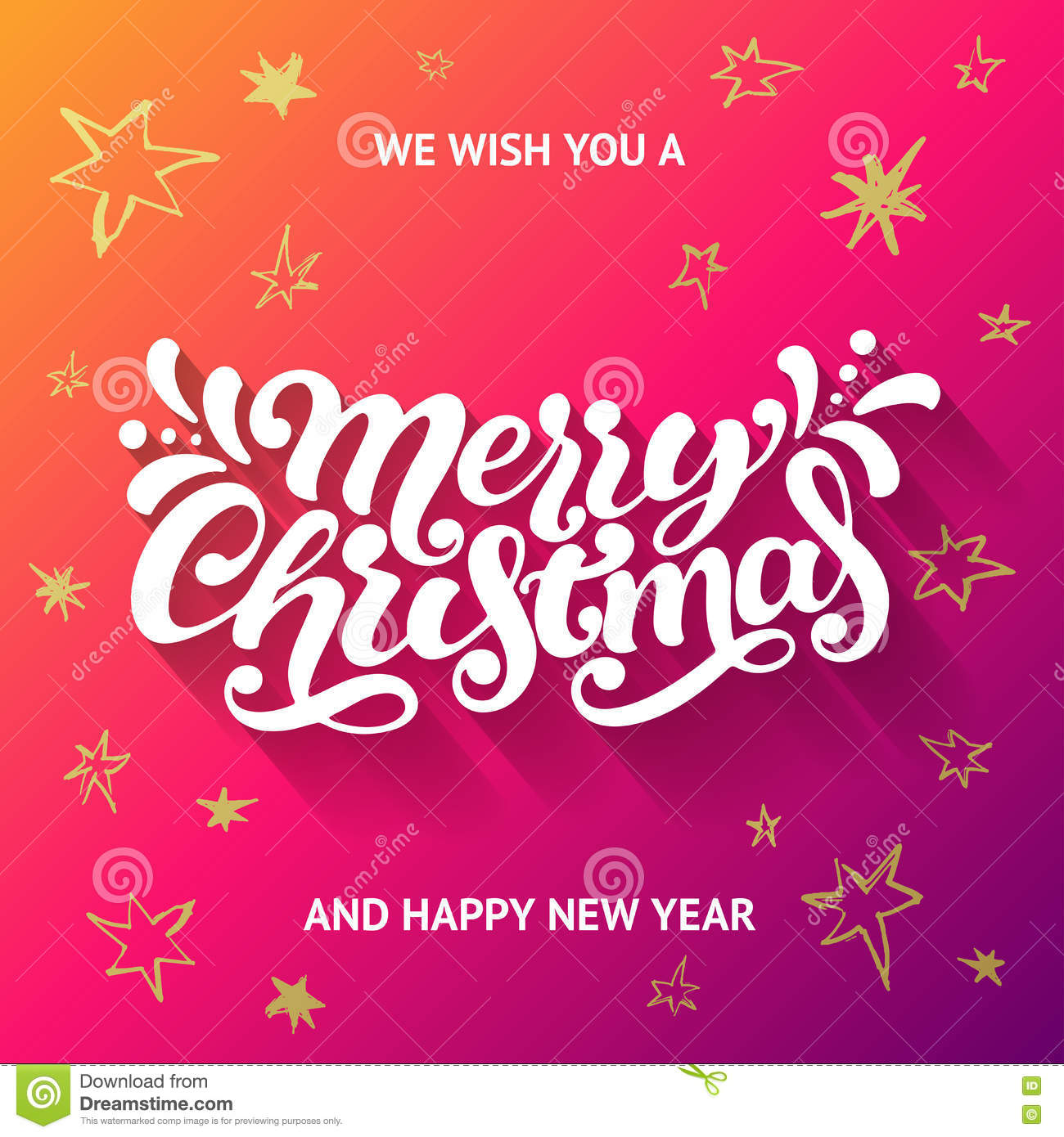 We Wish You A Merry Christmas And Happy New Year Greeting Card Stock