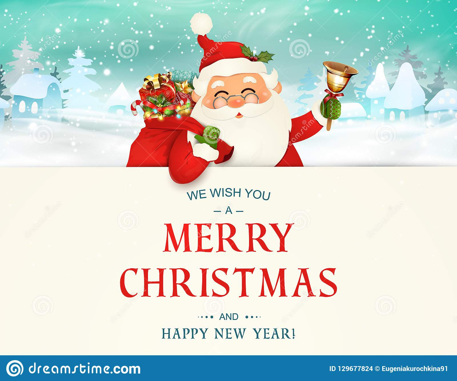 We Wish You A Merry Christmas Happy New Year Santa Claus Character