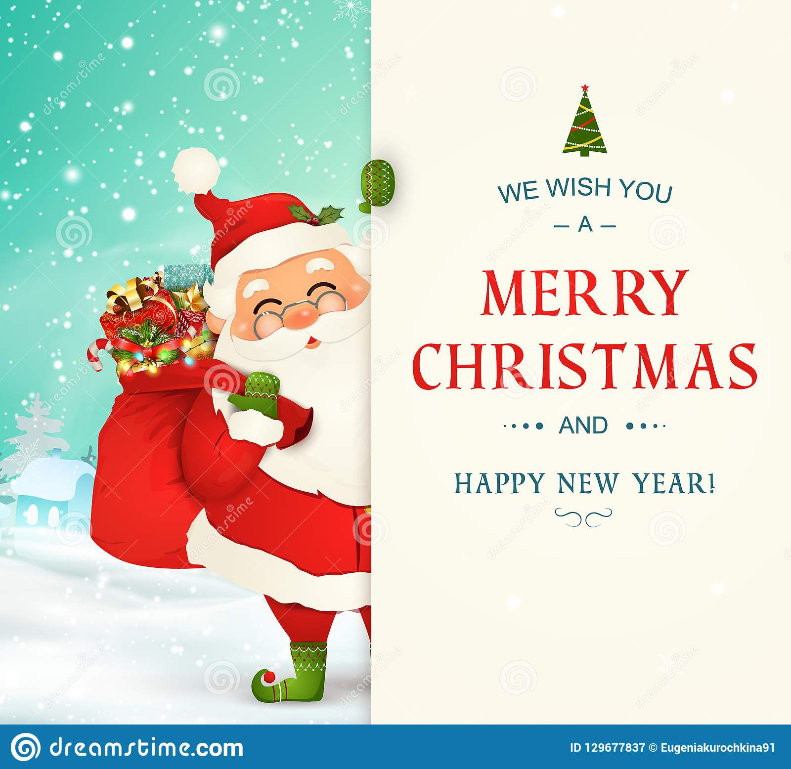 We Wish You A Merry Christmas. Happy New Year. Santa Claus Character ...