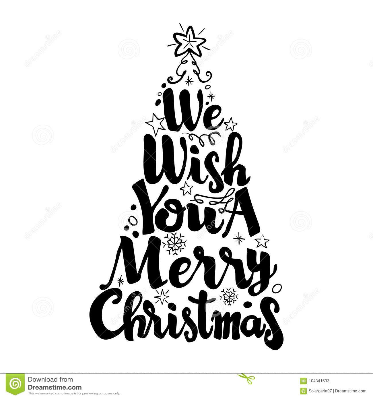 Merry Christmas Lettering.We Wish You A Merry Christmas Lettering Vector Stock Vector
