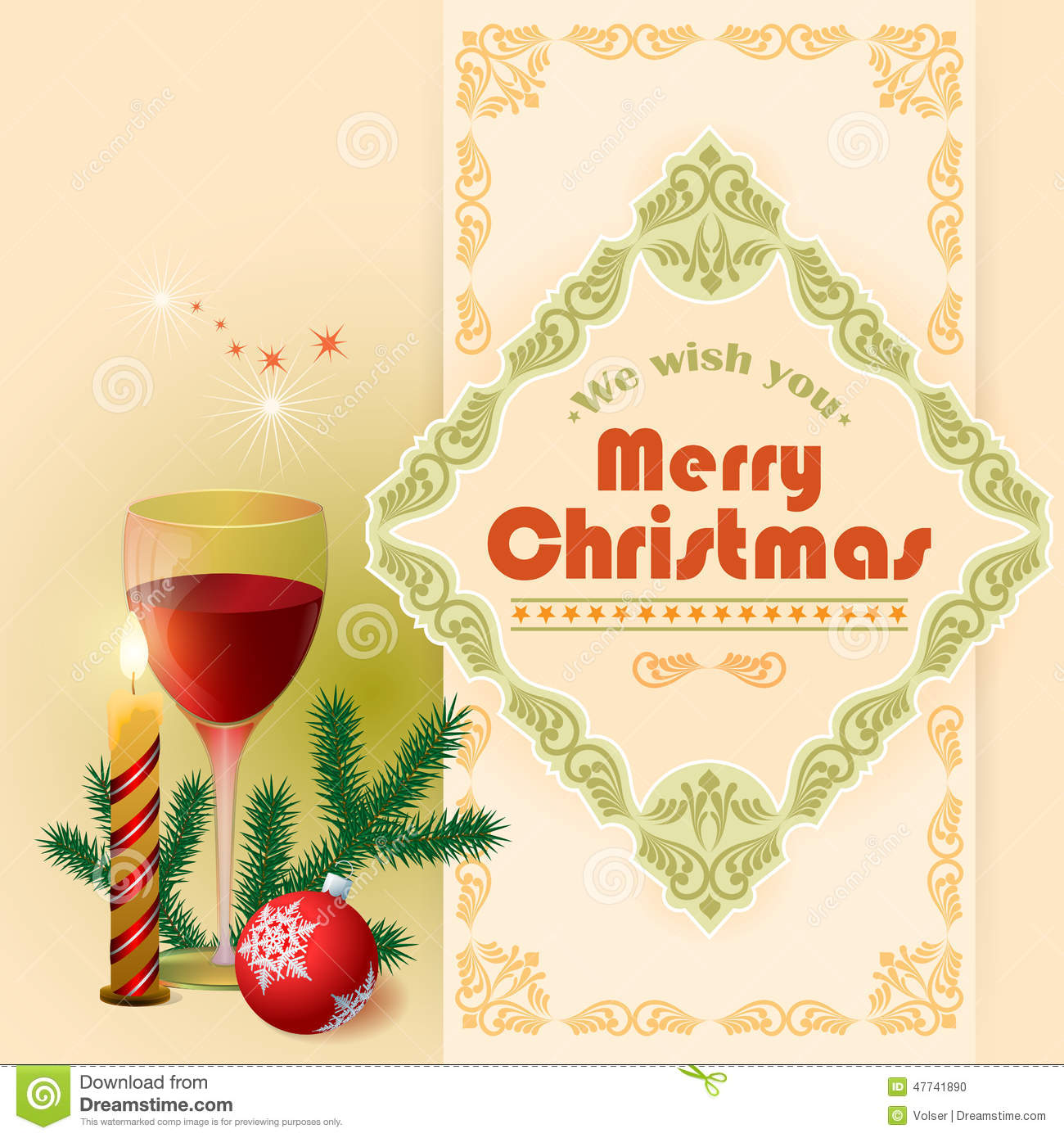 We wish you merry christmas text glass of wine and