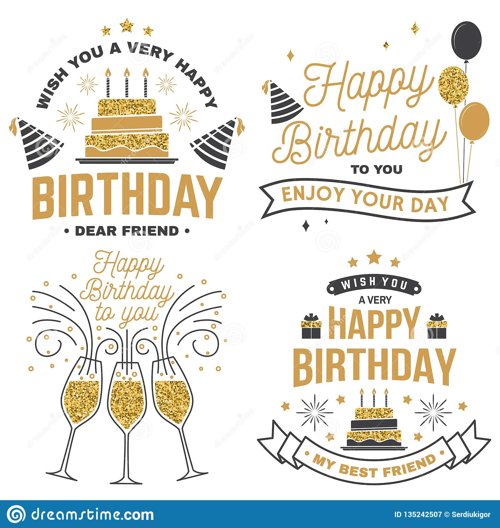 Wish You A Very Happy Birthday Dear Friend Badge Sticker Card With Hat Firework And Cake Candles Vector Set Of Vintage Typographic