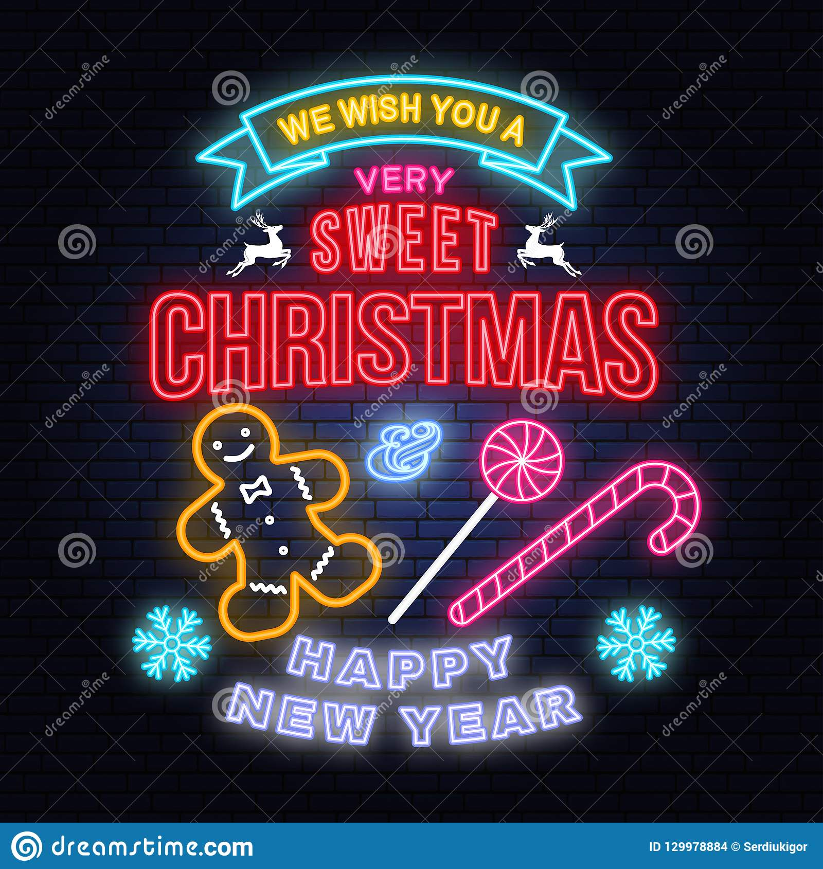 we wish you a very sweet christmas and happy new year neon sign with snowflakes