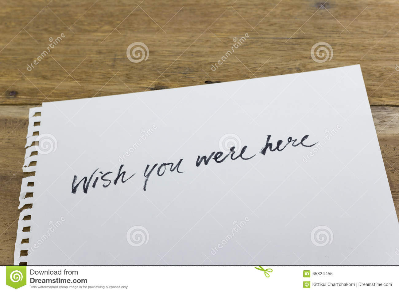 wish you were here hand written on white paper stock illustration wish you were here hand written on white paper