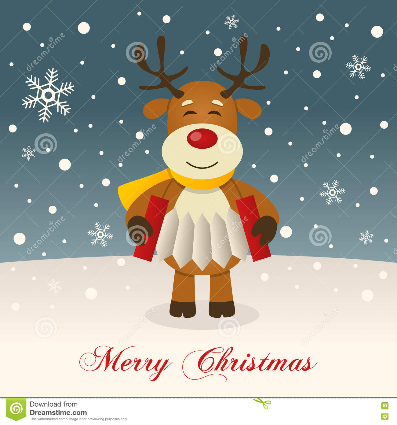 Wishing Merry Christmas With A Reindeer Stock Vector Illustration