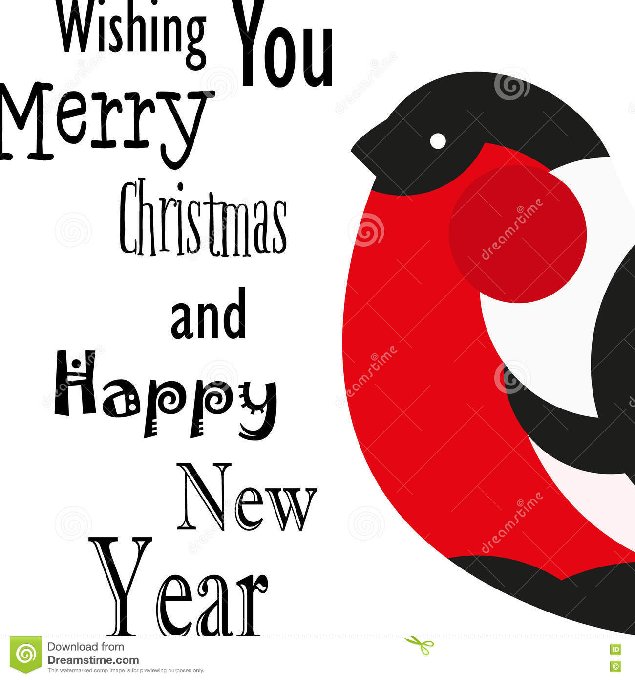 Wishing You Merry Christmas And Happy New Year Card With Bullfinch ...