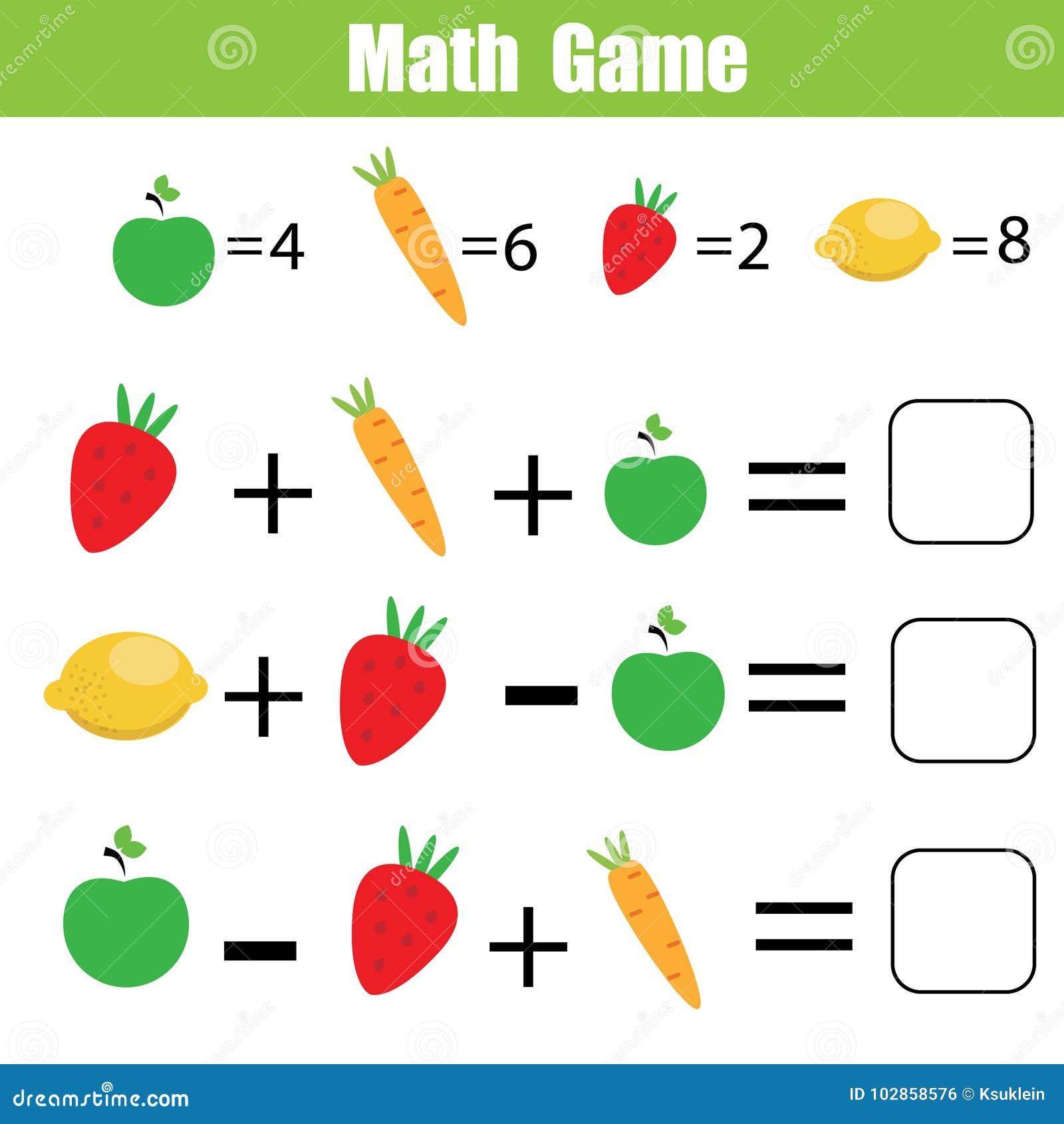 Wiskunde onderwijsspel voor kinderen Wiskundige tellende vergelijkingen