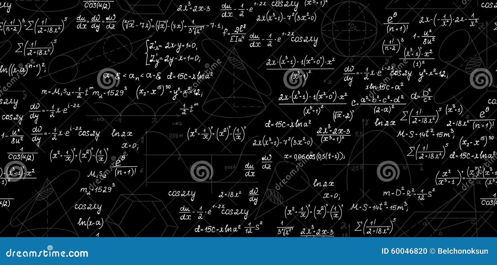 Wiskundig vector naadloos patroon met geometrische percelen, cijfers, vergelijkingen, formules en berekeningen Eindeloze wiskunde