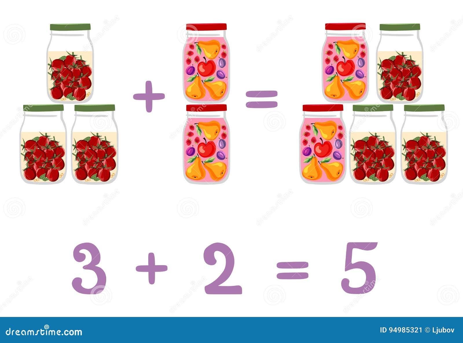 Wiskundige voorbeelden naast de kruiken van het pretglas Fruit en bessencompote en ingelegde tomaten
