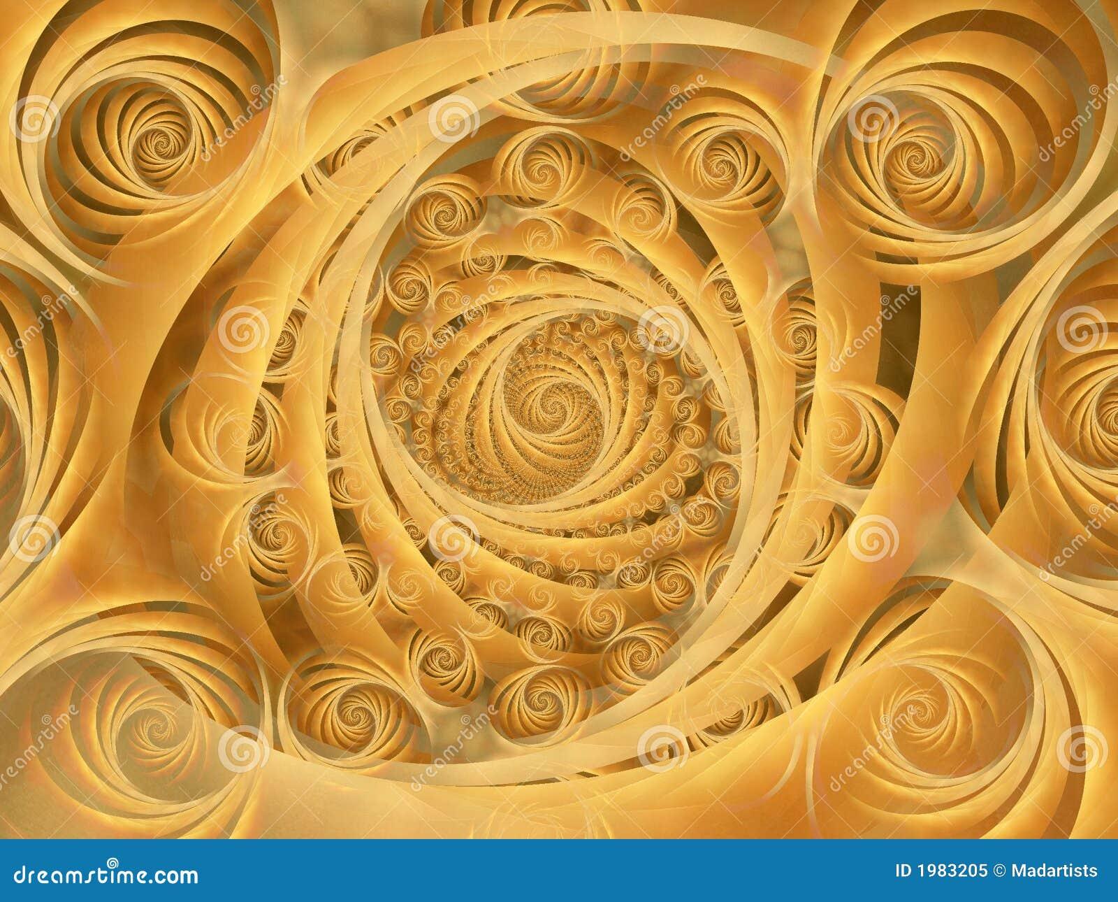 Wispy Gold Spirals Pattern